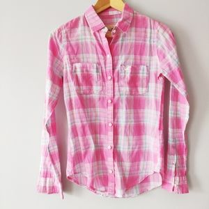 Hollister plaid button up shirt